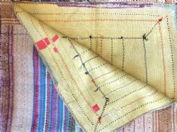 Vintage Kantha Throw - Pink and Blue Stripes & Light Yellow